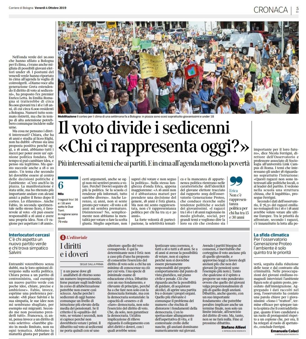 2019_10_04_Corriere Sera Bologna Voto 16enni